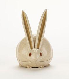 Japanese Art | Kyoto ware incense box in shape of crouching rabbit | F1904.203a-b