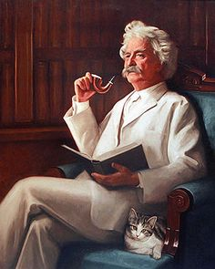 I simply can't resist a cat, particularly a purring one. They are the cleanest, cunningest, and most intelligent things I know, outside of the girl you love, of course.  -  Mark Twain