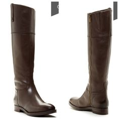 """HP 11/17 Enzo Angiolini Ellerby Riding Boot True to size.  - Side zip closure - Goring at shaft - Topstitched detail - Side pull tab - Approx. 15"""" shaft height, 14.5"""" opening circumference - Approx. 1"""" heel.  Worn only a few times with minor imperfections (small scuffing on toe areas, small scuff mark on outside of left boot, left boot top loop has been repaired). All imperfections are visible in photos. Overall these boots are in great condition!  Last photo is from fashion blog…"""
