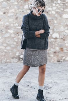 justthedesign: Wear your grey knit sweater with a grey skirt, grey socks and a pair of Dr. Martens. Via Jacqueline Mikuta.Sweater: VILA, Skirt – Anncha, Boots: Dr.Martens, Bag: Zara, Sunglasses: ZeroUV