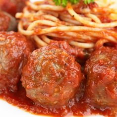 A Flavorful Italian meatball recipe. Served with spaghetti and delicious tomato sauce. Italian Meatball Pasta Recipe from Grandmothers Kitchen. These meatballs are the best! Pastas Recipes, Meat Recipes, Cooking Recipes, Homemade Meatball Recipes, Homemade Sauce, Recipies, Italian Dishes, Italian Recipes, Dinner Entrees