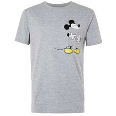 Grey Marl Mickey Mouse Tongue Print T-Shirt ($32) ❤ liked on Polyvore featuring tops, t-shirts, mickey mouse tee, grey top, pattern tees, mickey mouse top and print tees