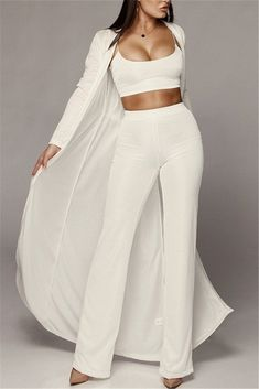 After decorating all evening for work reasons, dead nights and activities represent regarding the classycasual look! All White Outfit, White Outfits, Classy Outfits, Casual Outfits, Fashion Outfits, Womens Fashion, Casual Clothes, Fashion Clothes, Cardigan