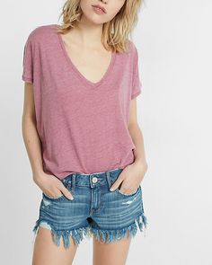 express one eleven burnout london tee in Romance Pink