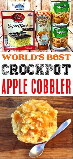 Apple Cobbler with Cake Mix Easy! Homemade slow cooker caramel fall desserts for a crowd are great for kids! Crock Pot Desserts, Apple Dessert Recipes, Apple Crisp Recipes, Dump Cake Recipes, Desserts For A Crowd, Fall Desserts, Desserts Diy, Easter Recipes, Christmas Desserts