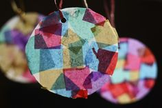 Tissue Paper Mosaic Ornaments - happy hooligans