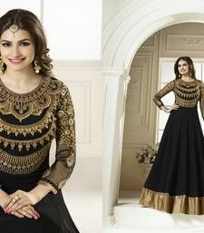 Buy Black georgette embroidered semi stitched salwar with dupatta party-wear-salwar-kameez online