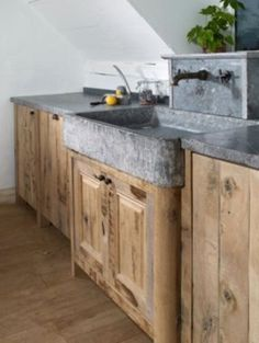 31 Rustic Farmhouse Concrete Countertops - rustic concrete farmhouse sink Always wanted to discover how to knit, although not certain how to start? This Total Begi. Kitchen Island Ikea Hack, Rustic Kitchen Island, Stone Kitchen Sink, Stone Sink, New Kitchen, Kitchen Decor, Laminate Countertops, Concrete Kitchen Countertops, Soapstone Counters