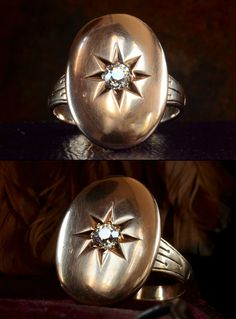 1880s Victorian ~0.22ct European Cut Diamond Signet Ring, 14K Gold