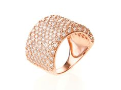 Thick Pave Band Ring with Crystal Stones.