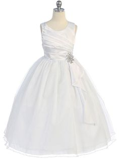 Gathered Dress with Tulle Skirt and Rhinestone Brooch