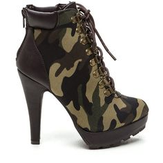 So Into You Camouflage Booties CAMOUFLAGE (Final Sale) ($15) ❤ liked on Polyvore featuring shoes, boots, ankle booties, green, metallic booties, lace up platform booties, stiletto boots, high heel stilettos and green boots