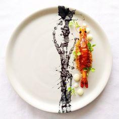 Seafood // Butter Poached Prawn, Squid Ink, Lemon Gel & Prawn Dust | Chef Martin Merz // Foodstarz, via Instagram