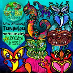 Taniwha Clip Art {Mythical creatures of New Zealand} Ag Day, New Zealand Art, Maori Art, Kiwiana, Arts Ed, Mythical Creatures, Kids Learning, Art Lessons, Bilingual Classroom