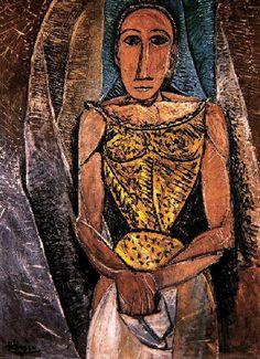 Pablo Picasso, 1907 Femme au corsage jaune on ArtStack #pablo-picasso #art