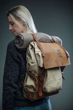 Leather and canvas backpack #078 Notless Orequal