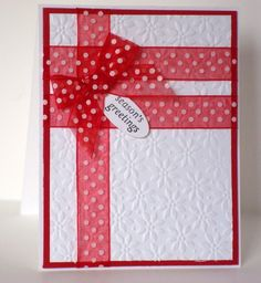"""Lovely Embossed """"Season's Greetings"""" Card...CRAK from Peggy-Sue (Part 1) by Benzi - Cards and Paper Crafts at Splitcoaststampers."""