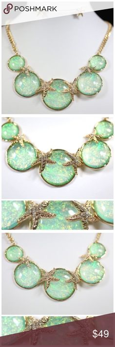 "D5 Starfish Nacre Mint Green Gold Necklace Set ‼️ PRICE FIRM UNLESS BUNDLED WITH OTHER ITEMS FROM MY CLOSET ‼️    Nacre Seashell Necklace  GORGEOUS!  Beautiful mint green color opalescent nacre.  Gold color hammered metal.  Rhinestone crusted starfish.  Sure to dress up just about any outfit!   Lobster clasp.   21.5"" long,  including 3"" adjustable extender chain.  Earrings are approximately .6"". Please check my closet for thousands more items including designer clothing, shoes, scarves…"