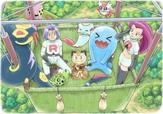 Just a nice, friendly-feeling pic of Team Rocket in their balloon.