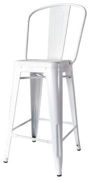 Bouchon French Industrial White with Back Cafe Counter Stool - Set of 4 - modern - Bar Stools And Counter Stools - Kathy Kuo Home