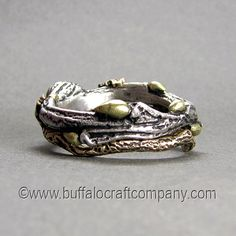 """Nature Inspired Twig Ring """"Rachel,"""" cast from white gold with the addition of green gold buds. The wedding band is hand fabricated from yellow gold. Antique Mens Rings, Vintage Rings, Timeless Engagement Ring, Engagement Rings, Wedding Band Sets, Wedding Ring, Green And Gold, White Gold, Twig Ring"""