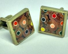Color Pencil Cuff Links, Handmade Square Cuff Links, Colored Pencil Jewellry, Bronze Cufflinks, gift for him, Wedding Gift, Gift Box