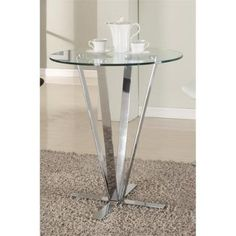 Chintaly Cortland Round Glass Top Pub Table In Clear And Chrome