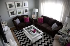 Image detail for -brown couches w/ grey pink black and white