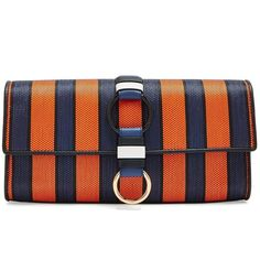 Diane Von Furstenberg Striped raffia and leather clutch (14.290 RUB) ❤ liked on Polyvore featuring bags, handbags, clutches, orange multi, leather handbags, floral clutches, striped handbag, stripe purse and real leather purses