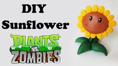 DIY: Como Fazer Sunflower de PLANTS vs. ZOMBIES - polymer clay, porcelana ou biscuit tutorial