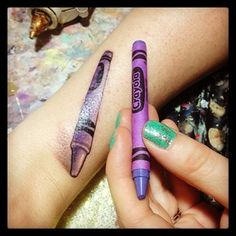 I love this idea!!  Not so much because of Harold and the Purple Crayon, but love the idea of a crayon or paintbrush or something!  50 Awesome Tattoos Inspired By Books You Grew Up With As A Kid