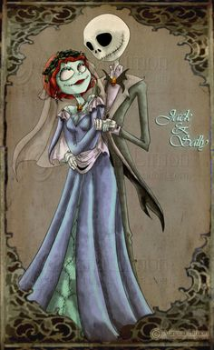 Jack and Sally Nightmare Before Christmas Wedding Jack and Sally Nightmare Before Christmas Wedding Nightmare Before Christmas Wallpaper, Sally Nightmare Before Christmas, The Night Before Christmas, Tim Burton Art, Tim Burton Style, Disney Fan Art, Disney Love, Jack Y Sally, Jack The Pumpkin King