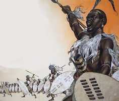 Chaka in battle at the head of the regiment of Tulwana impi. African Culture, African History, Zulu Warrior, African Artwork, Superhero Design, African Tribes, Medieval Fantasy, Military Art, Black Art