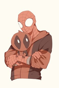 Spider-Man with Little Deadpool Marvel E Dc, Marvel Funny, Marvel Heroes, Marvel Comics, Spideypool, Superfamily Avengers, Xmen, Spaider Man, Deadpool X Spiderman