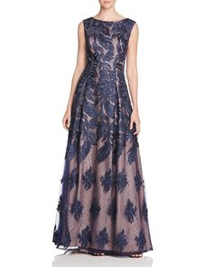 Aidan Mattox Feather Embroidered Gown