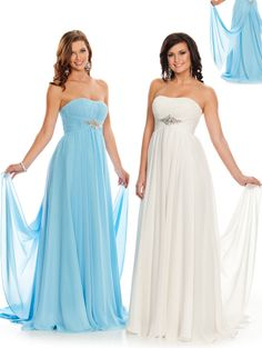 Size 10 White and Size 14 Ice Blue In StockChannel your inner goddess in this Grecian-inspired Wow Prom dress 4014. This marvelous piece features a strapless neckline that has been ruched to perfection for added elegance. A crystal brooch has been placed at the middle to create a luminous effect. The long, draped skirt reaches the ground at its longest point.