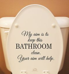 """Funny bathroom sign for kids (and maybe a few adults): """"My aim is to keep this bathroom clean. Your aim will help.""""  Vinyl Sign Wall Decal"""
