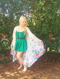 RaeLynn rockin' the Romper!  Green Romper & shoes – Free People, Kimono – Nasty Gal