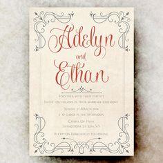 Wedding Invitation Calligraphy - Shabby Chic wedding, pink grey wedding, printable wedding invitation