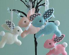 Conejito de Pascua móvil Bunny  conejo bebé  por FlossyTots en Etsy