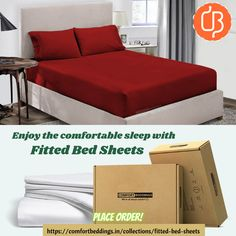Want to sleep comfortable then décor your room with beautiful elastic fitted bed sheets. We can tuck this bed sheet perfectly on the mattress. Oder online fitted sheets with affordable rates and enjoy the luxury and comfortable sleep. King Size Bed Sheets, Double Bed Sheets, Fitted Bed Sheets, Yellow Bedding, Black Bedding, Most Comfortable Sheets, Ruffle Duvet, Bed Sheets Online, Water Bed