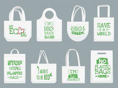 No Plastic, Plastic Bags, Shopper Bag, Make And Sell, Design Bundles, Slogan, Reusable Tote Bags, Textiles, Sayings