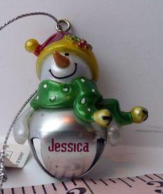 #JESSICA Ganz Snowman Jingle Bell Christmas Ornament