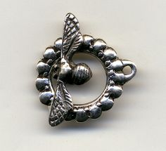 handcast sterling silver bee toggle clasp by pumpkinhillbeads, $25.00
