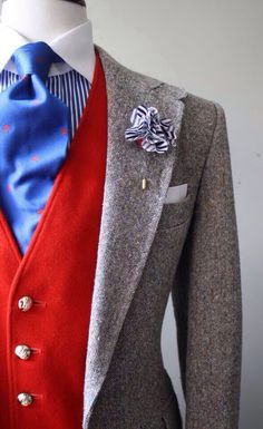 Bright colors of the #vest and #tie make the whole look pop. www.LuxuryItalianNeckties.com I like!!