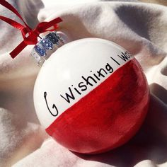 "Holiday Christmas Ornament - ""Wishing I Was Fishing"" - Hand-painted Personalized Ornament Stocking Stuffer on Etsy, $15.00"