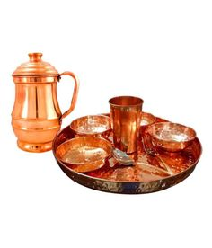 AsiaCraft Pure Copper Traditional Dinner Set of Thali Plate, Bowls, Jug, Glass and Spoon, Dia 12 Inch