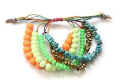 ~ Waxed Cord Colorful Neon Beaded Beachy Bohemian Bracelet ~ via Etsy ~