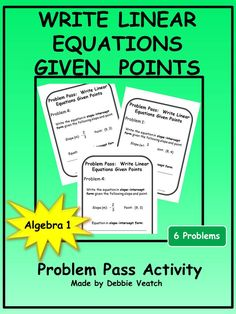 An excellent way to practice or review writing linear equations in slope-intercept form when given two points or given a point and the slope.