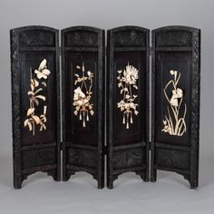 Japanese Carved Wood and Soapstone Four Panel Screen | From a unique collection of antique and modern paintings and screens at https://www.1stdibs.com/furniture/asian-art-furniture/paintings-screens/